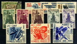 México (aéreos) Nº 54, 73/75, 83/5, 87/88, 93/5. Año 1934/39 - Mexique