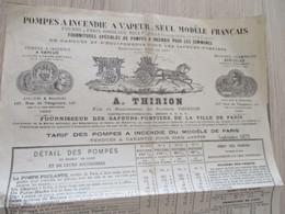 Pub Publicité A.Thrion Pompes à Incendie Vapeur Paris Fournisseur Des Sapeurs Pompiers De Paris Septembre 1873 - Publicidad