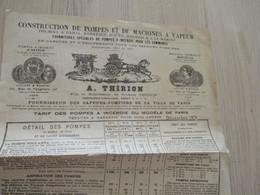 Pub Publicité A.Thrion Pompes à Incendie Vapeur Paris Fournisseur Des Sapeurs Pompiers De Paris Décembre 1874 - Publicidad