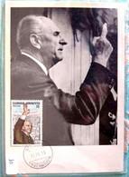 GREECE GRECE POSTCARD PAPANDREOU GEORGIOS BORN IN KALENTZI PATRAS ACHAIA EDITION UNUSED GREEK STAMPS 1983 ( FDC ? ) - Griekenland