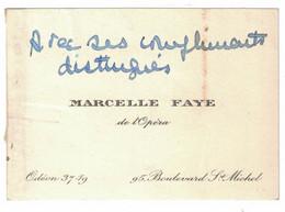 MARCELLE FAYE DE L'OPERA 95 BOULEVARD ST. MICHEL ODEON 37-19 - Visitenkarten