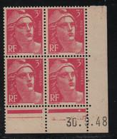 FRANCE  Coin Daté **  Type Marianne De Gandon  3f  Rose Lilas  30.9.48  N° Yvert 806  Neuf Sans Charnière - 1940-1949