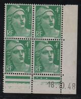 FRANCE  Coin Daté **  Type Marianne De Gandon  4f  Vert Bleu  18.10.48  N° Yvert 807  Neuf Sans Charnière - 1940-1949