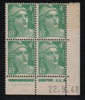 FRANCE  Coin Daté **  Type Marianne De Gandon  4f  Vert Bleu  22.9.48  N° Yvert 807  Neuf Sans Charnière - 1940-1949