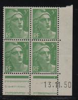 FRANCE  Coin Daté **  Type Marianne De Gandon  5f Vert Clair  13.11.50  N° Yvert 809  Neuf Sans Charnière - 1940-1949