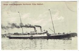 Gruss Vom Postdampfer Kiel Korsor Prinz Adalbert - Piroscafi