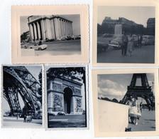 5 Photos Anciennes De PARIS - Tour Eiffel - Arc De Triomphe - Musée De La Marine - 1947 - 1957 - Places