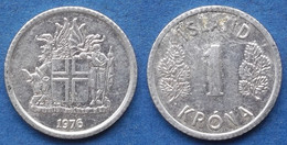 ICELAND - 1 Krona 1976 KM# 23 Republic (1944) - Edelweiss Coins - Islandia