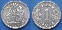 ICELAND - 1 Krona 1977 KM# 23 Republic (1944) - Edelweiss Coins - Islandia
