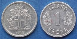 ICELAND - 1 Krona 1980 KM# 23 Republic (1944) - Edelweiss Coins - Islandia