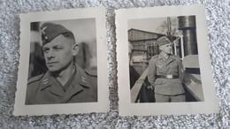 2 X Foto Portrait Soldat Der Luftwaffe 2 Schwingen Wehrmacht Militär Uniform Schiffchen - 1939-45