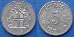 ICELAND - 5 Kronur 1975 KM# 18 Republic (1944) - Edelweiss Coins - Islandia