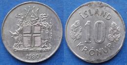 ICELAND - 10 Kronur 1980 KM# 15 Republic (1944) - Edelweiss Coins - Islandia