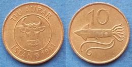 "ICELAND - 10 Aurar 1981 ""squid"" KM# 25 Monetary Reform (1981) - Edelweiss Coins - Islandia"