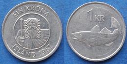 "ICELAND - 1 Krona 1987 ""cod"" KM# 27 Monetary Reform (1981) - Edelweiss Coins - Islandia"