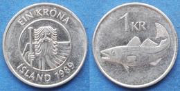"ICELAND - 1 Krona 1989 ""cod"" KM# 27a Monetary Reform (1981) - Edelweiss Coins - Islandia"