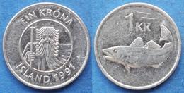 "ICELAND - 1 Krona 1991 ""cod"" KM# 27a Monetary Reform (1981) - Edelweiss Coins - Islandia"
