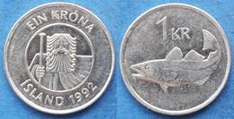 "ICELAND - 1 Krona 1992 ""cod"" KM# 27a Monetary Reform (1981) - Edelweiss Coins - Islandia"