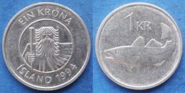 "ICELAND - 1 Krona 1994 ""cod"" KM# 27a Monetary Reform (1981) - Edelweiss Coins - Islandia"