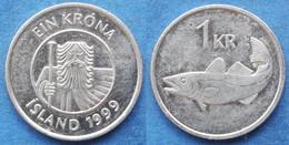 "ICELAND - 1 Krona 1999 ""cod"" KM# 27a Monetary Reform (1981) - Edelweiss Coins - Islandia"