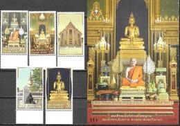 THAILAND, 2021, MNH, BUDDHISM, WAT RATCHABOPHIT TEMPLE, MONKS,  ARCHITECTURE, 5v+S/SHEET - Buddhism