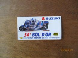 SUZUKI 54e BOL D'OR CIRCUIT PAUL RICARD 22 ET 23 SEPTEMBRE 90 AUTO COLLANT - Advertising