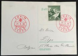 Deutsche Reich 1939 Postkarte Special Red Stempel  Kreistag Der N.S.D.A.P. Znaim - Covers & Documents
