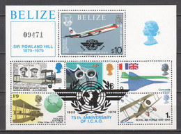 Belize 1979 Mi Block 9 MNH AIRPLANES - SIR ROWLAND HILL - Airplanes
