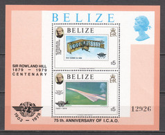 Belize 1979 Mi Block 8 MNH AIRPLANES - SIR ROWLAND HILL - Airplanes