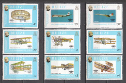 Belize 1979 Mi 420-428A MNH AIRPLANES - SIR ROWLAND HILL - Airplanes