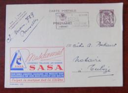 """EP Belgique Publibel 888 """" Soieries Sasa """" - Bruxelles Vers Tubize - Flamme """" Sabena """" 1950 - Publibels"""