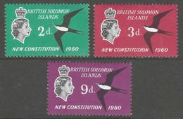 British Solomon Islands. 1961 New Constitution. MH Complete Set. SG 97-99 - Iles Salomon (...-1978)