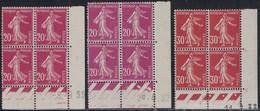 SEMEUSE - N°190x2 + N°360 - BLOC DE 4 - COIN DATE - 2 NUANCES DE COULEUR POUR LE 190 - COTE 14€50 - 1 DENT COURTE BLOC D - ....-1929