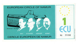 "13581"" EUROPEAN CIRCLE OF NAMUR-1 ECU "" Cm. 7,5 X 14,5 - Unclassified"