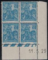 JEANNE D'ARC - N°257 -  BLOC DE 4 - COIN DATE - 11-5-1929 - COTE 20€ - SUPERBE - ....-1929