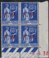 FM - TYPE PAIX - 65c - N°8 -  BLOC DE 4 - COIN DATE - 6-4-1938 - COTE 7€ - CHARNIERE. - Sonstige