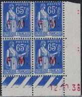 FM - TYPE PAIX - 65c - N°8 - VARIETE SURCHARGE FINE OU PARTIELLE -  BLOC DE 4 - COIN DATE - 12-10-1938 - CHARNIERE. - Sonstige
