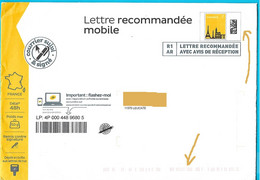 CURIOSITÉ : Lettre Recommandée Mobile R1 AR Courrier Suivi Et Signé, A Voyagé (barres Rouges En Bas) Sans Oblitération - Listos A Ser Enviados: Otros (1995-...)