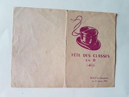 MENU  DES  CONSCRITS   FETE  DES  CLASSES  EN  9  A  BLACE  EN  BEAUJOLAIS   1959 - Menus