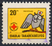 RED CROSS - OWL / PHONE TELEPHONE - Children Savings BANK Stamps / Revenue Stamp - 1980's Hungary - Croce Rossa