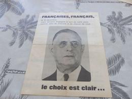 M-170 ,  Election Du Président De La République, 19 Décembre 1965, Charles De Gaulle - Documents Historiques