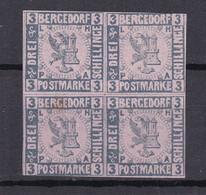 Bergedorf - 1861/67 - Michel Nr. 4 ND Viererblock - Ungebr. - Bergedorf