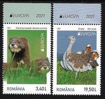 "RUMANIA /ROMANIA / RUMÄNIEN  -EUROPA 2021 -ENDANGERED NATIONAL WILDLIFE""- SERIE De 2 V.-EUR - Tipo B From SHEETLET Of 32 - 2021"