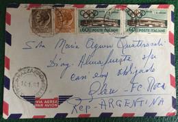 1961 - Italia - Busta Viaggiata Via Aerea Da Italia Per Argentina - 39 - 1961-70: Storia Postale