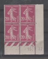 FRANCE / 1924 / Y&T N° 190 ** : Semeuse Camée 20c Lilas-rose X 4 - Coin Daté 1932 09 13 - ....-1929