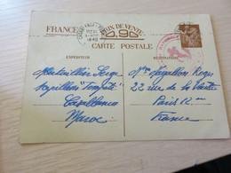 IRIS ENTIER INTER-ZONE Expediteur MAROC,,obliteration Casablanca,MARINE NATIONALE,,destinataire FRANCE - Briefe U. Dokumente