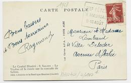 FRANCE  N°360 CARTE DAGUIN Gdes FETES DE MAURIAC 8.16 AOUT 1938 CANTAL COTE 100€ FRAPPE B/TB - Mechanical Postmarks (Advertisement)