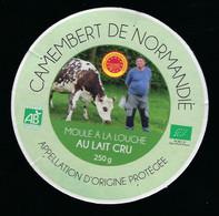 """Etiquette  Fromage  Camembert  Normandie """"bio AB"""" FR61402001CE Ste Laitiere Dee St Hilaire De Briouze Orne 61 Vache Pays - Formaggio"""