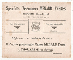 Buvard , 210 X 170 Mm, MENARD FRERES à THOUARS, Deux Sèvres, 2 Scans, Frais Fr 1.95 E - Animals