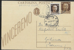 """ANNULLO FRAZIONARIO DC """" ORNANO GRANDE 62-78 -* 3.11.44"""" SU CARTOLINA POSTALE VINCEREMO  PER GIULIANOVA - Marcophilia"""